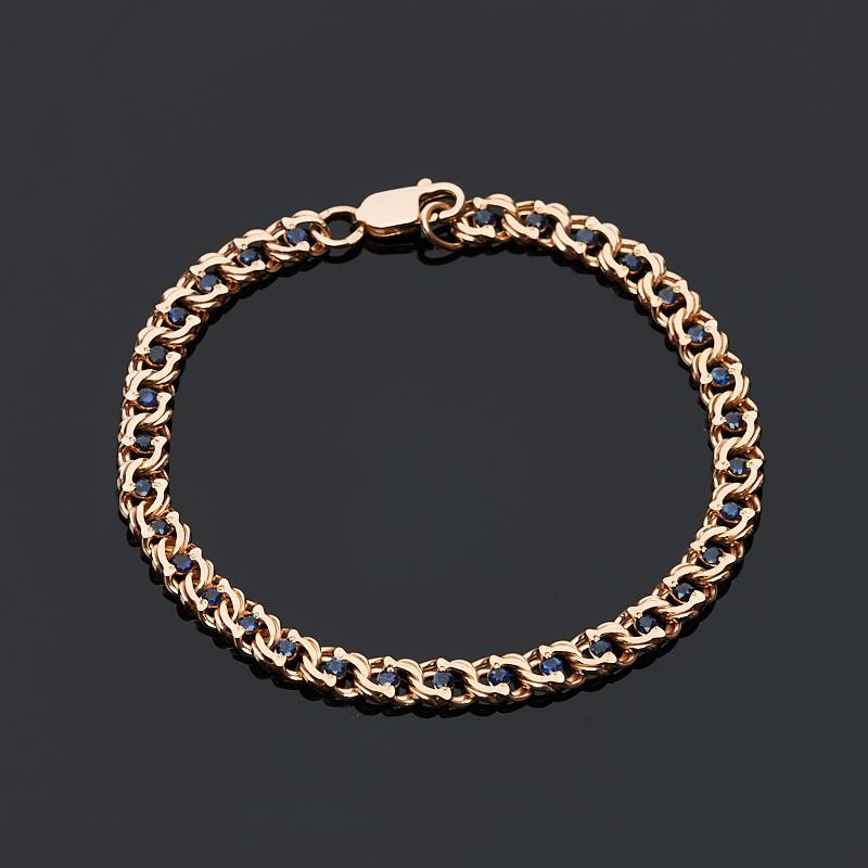 Браслет сапфир огранка 17 см (серебро 925 пр., позолота)