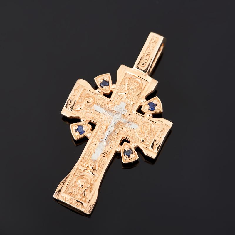 Кулон сапфир (серебро 925 пр. позолота) крест огранка