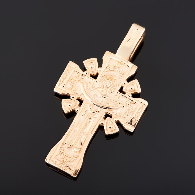 Кулон сапфир Индия (серебро 925 пр. позолота) крест огранка