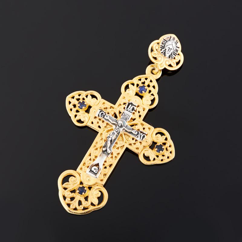 Кулон сапфир (серебро 925 пр. черн., позолота) крест огранка