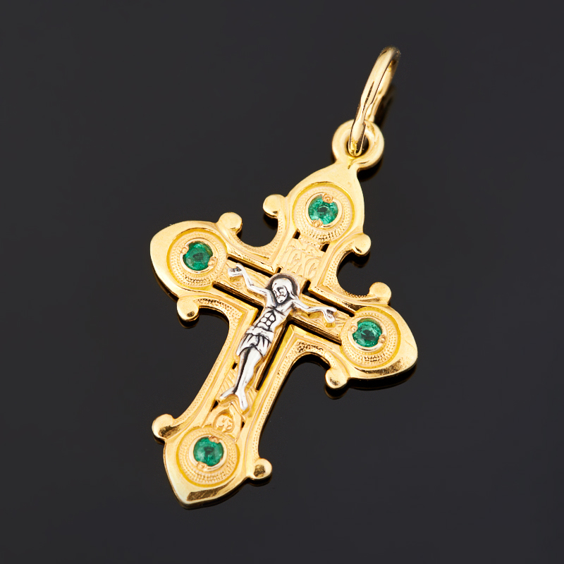 Кулон изумруд (серебро 925 пр. черн., позолота) крест огранка