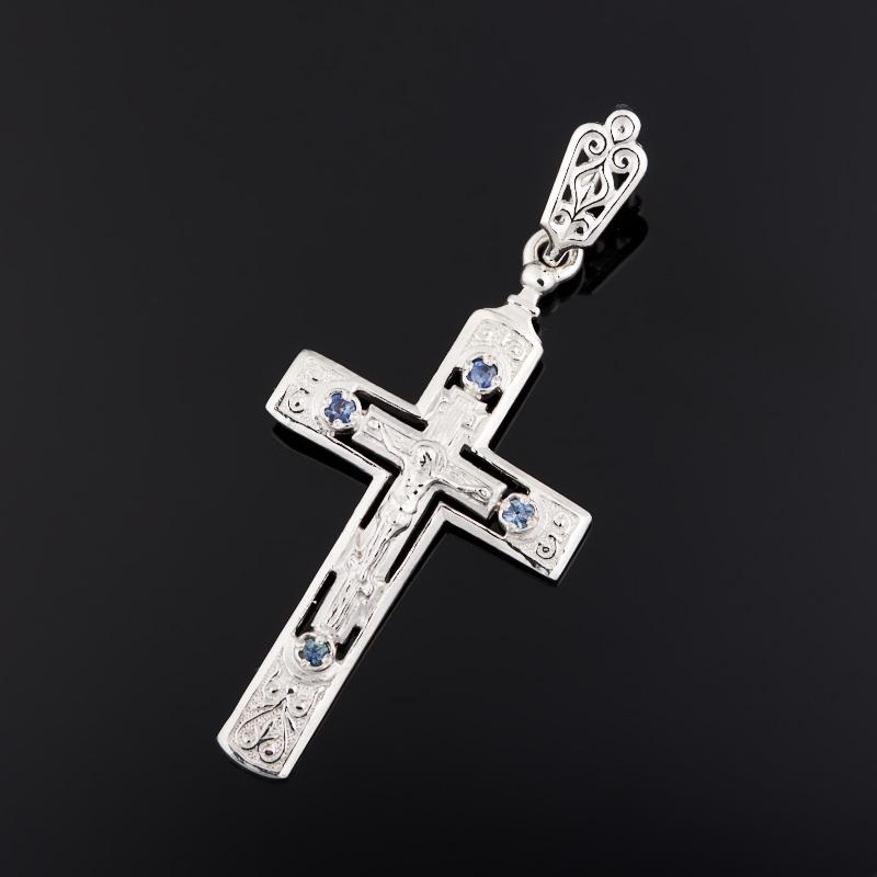 Кулон сапфир черный (серебро 925 пр.) крест огранка