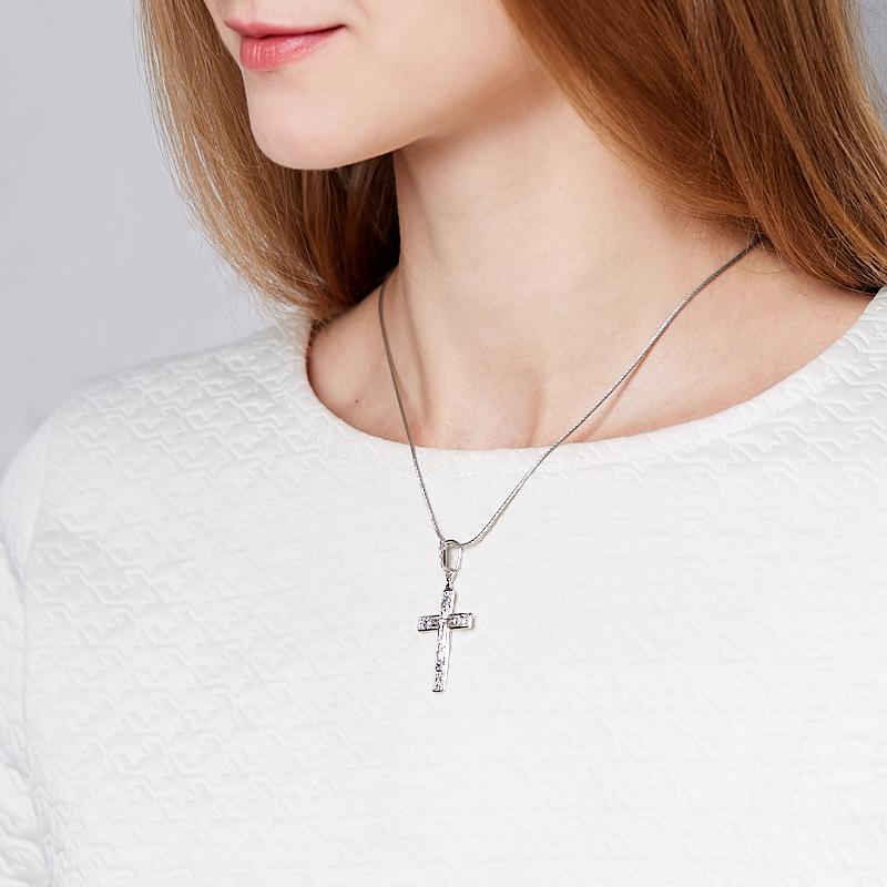 Кулон сапфир черный Индия (серебро 925 пр.) крест огранка