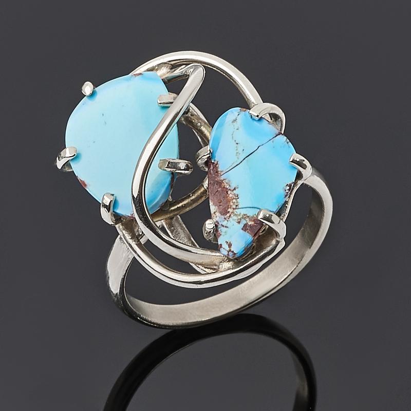 Кольцо бирюза Казахстан (нейзильбер) размер 18