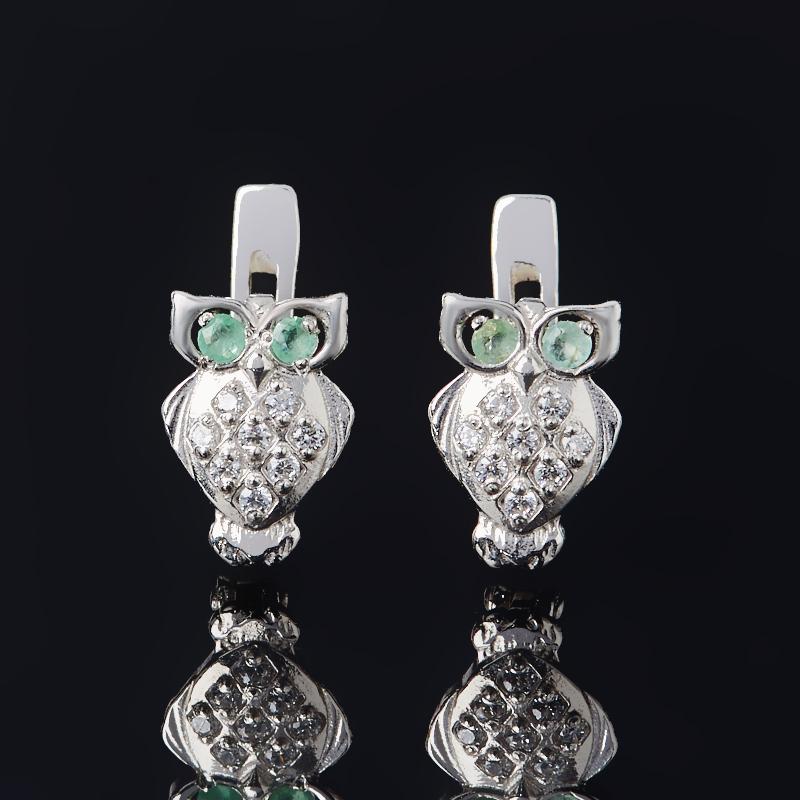 Серьги изумруд (серебро 925 пр. родир. бел.) огранка