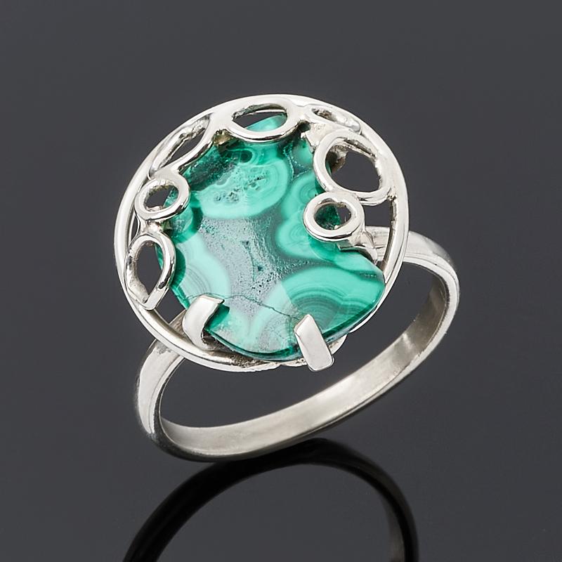 Кольцо малахит (дублет) (нейзильбер) размер 19