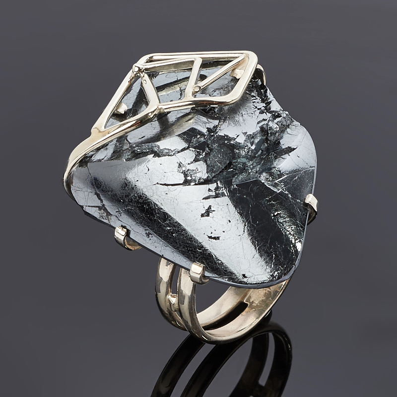 Кольцо гематит Россия (нейзильбер) размер 19