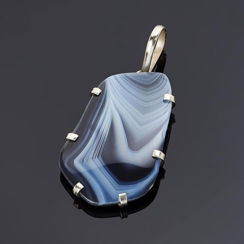 Кулон агат серый (дублет) (нейзильбер)