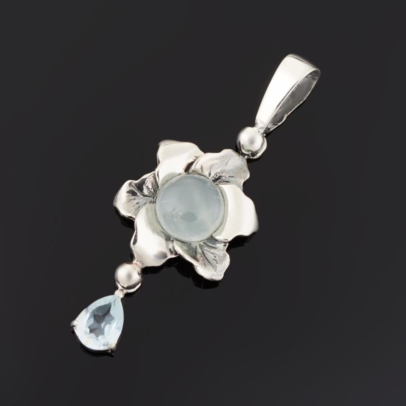 Кулон аквамарин, топаз (серебро 925 пр. черн.)