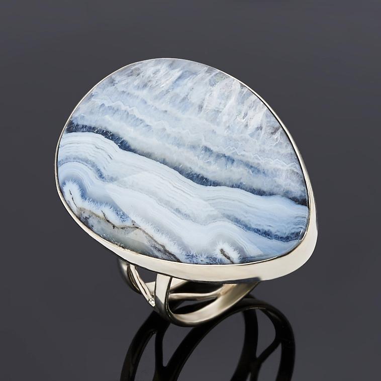 Кольцо агат серый (дублет) (нейзильбер) размер 18,5