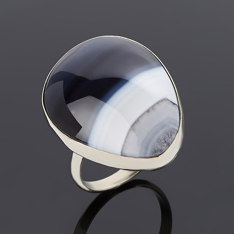 Кольцо агат черный (дублет) (нейзильбер) размер 18,5