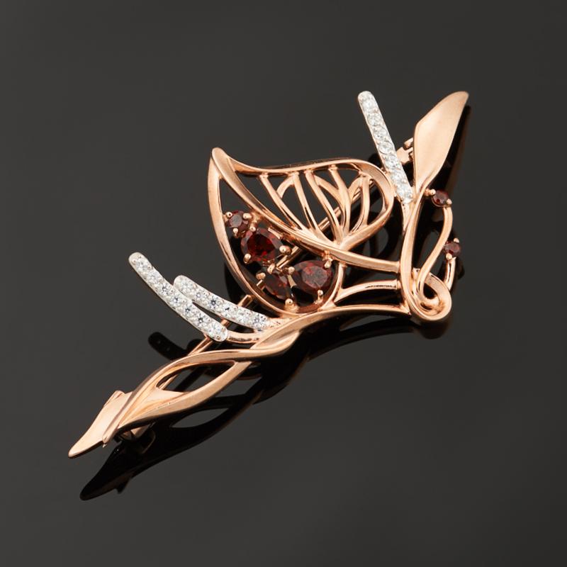 Брошь гранат альмандин (серебро 925 пр. позолота, родир. бел.) огранка