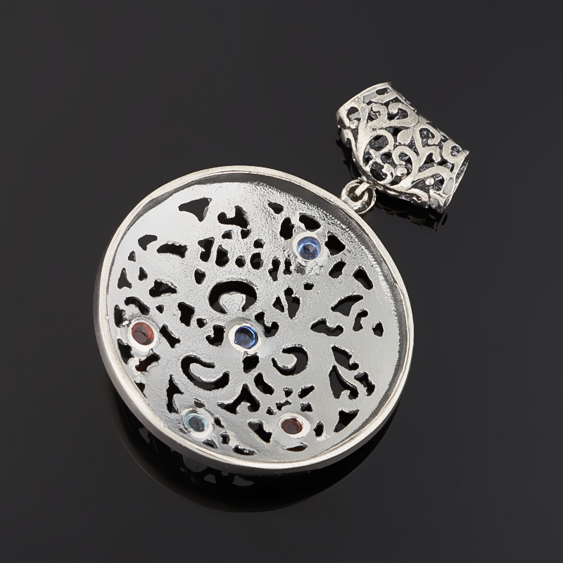 Кулон гранат, кианит, топаз (серебро 925 пр. черн.) круг