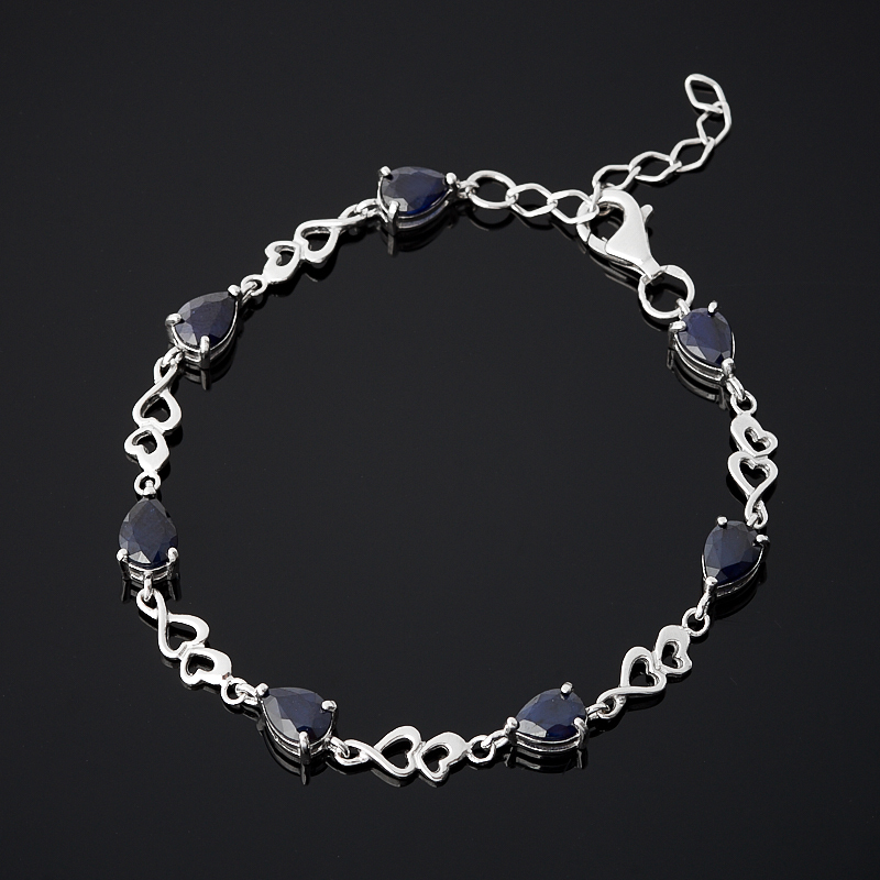 Браслет сапфир черный (серебро 925 пр. родир. бел.) огранка 16-19 см