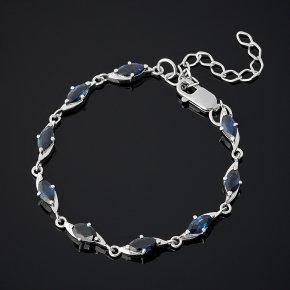 Браслет сапфир черный Индия (серебро 925 пр. родир. бел.) огранка 14-18 см