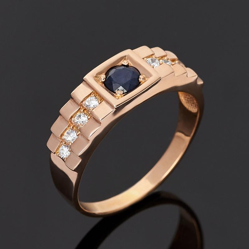 Кольцо сапфир черный (серебро 925 пр. позолота) огранка размер 21,5