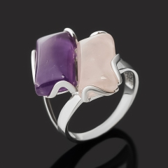 Кольцо микс аметист, розовый кварц (серебро 925 пр. родир. бел.) размер 17