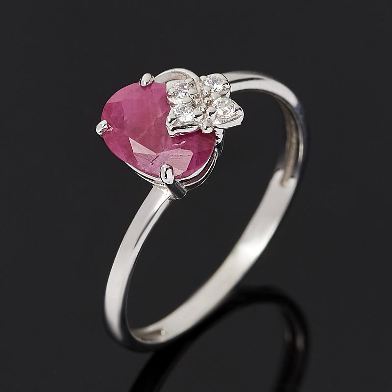Кольцо рубин (серебро 925 пр. родир. бел.) огранка размер 17,5