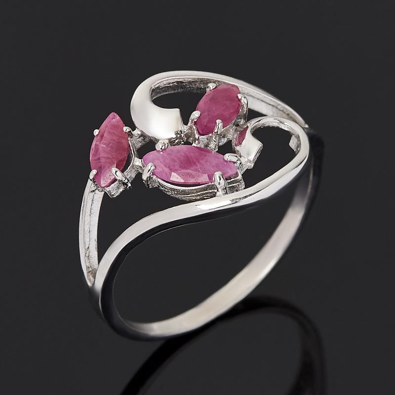 Кольцо рубин (серебро 925 пр. родир. бел.) огранка размер 18,5
