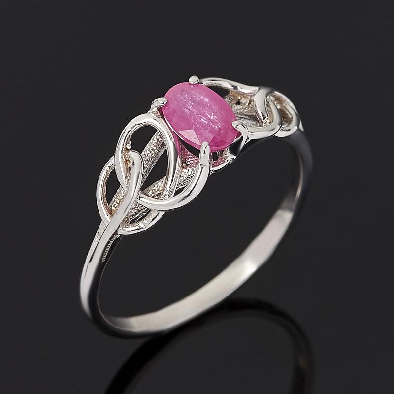 Кольцо рубин (серебро 925 пр. родир. бел.) огранка размер 17