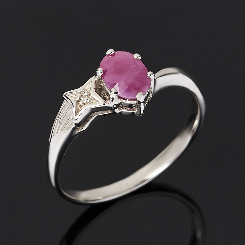 Кольцо рубин (серебро 925 пр. родир. бел.) огранка размер 18