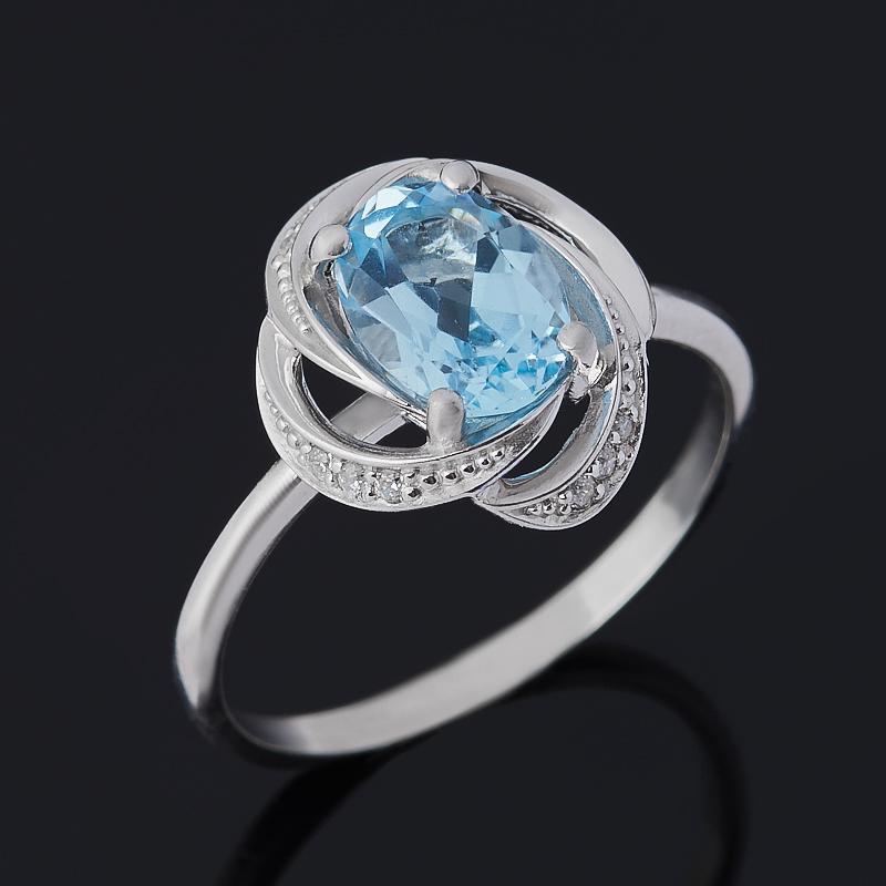 Кольцо топаз голубой (серебро 925 пр. родир. бел.) огранка размер 17 кольцо коюз топаз кольцо т147017296