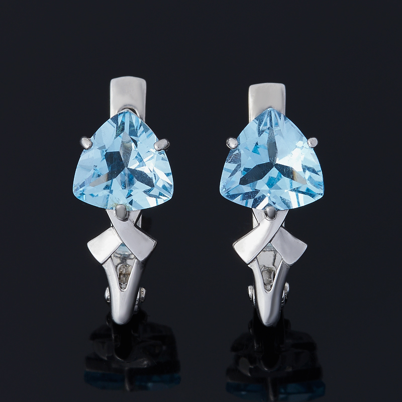 Серьги топаз голубой (серебро 925 пр. родир. бел.) огранка