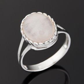 Кольцо розовый кварц Бразилия (серебро 925 пр. родир. бел.) размер 16,5