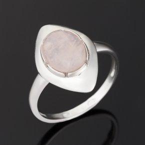 Кольцо розовый кварц Бразилия (серебро 925 пр. родир. бел.) размер 17,5