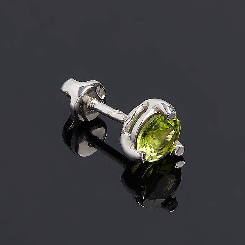 Серьги хризолит (серебро 925 пр. родир. бел.) пуссеты огранка (1 шт)
