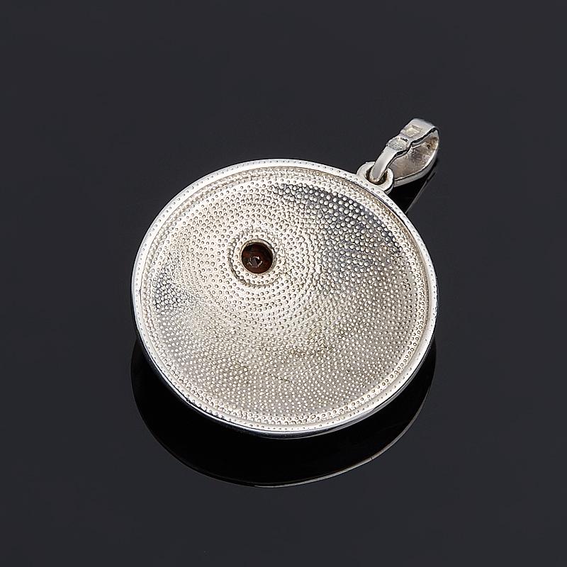 Кулон гранат альмандин Индия (серебро 925 пр.) круг огранка