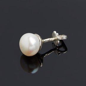 Серьги жемчуг белый Гонконг (серебро 925 пр. родир. бел.) пуссеты (1 шт)