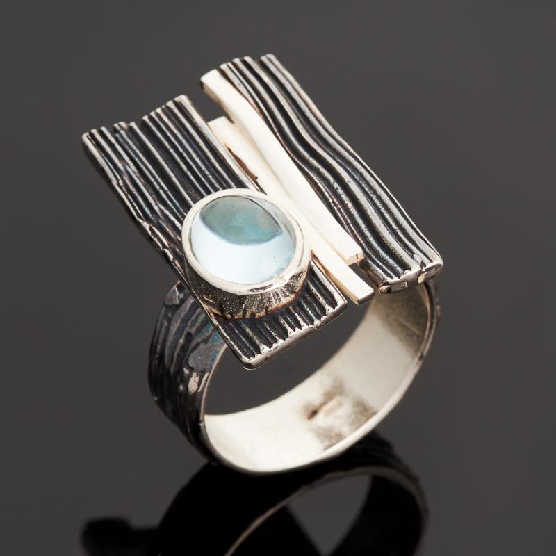 Кольцо топаз голубой (серебро 925 пр. родир. бел., родир. черн.) размер 17,5 все цены