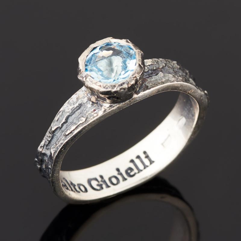 Кольцо топаз голубой (серебро 925 пр. черн.) огранка размер 18,5