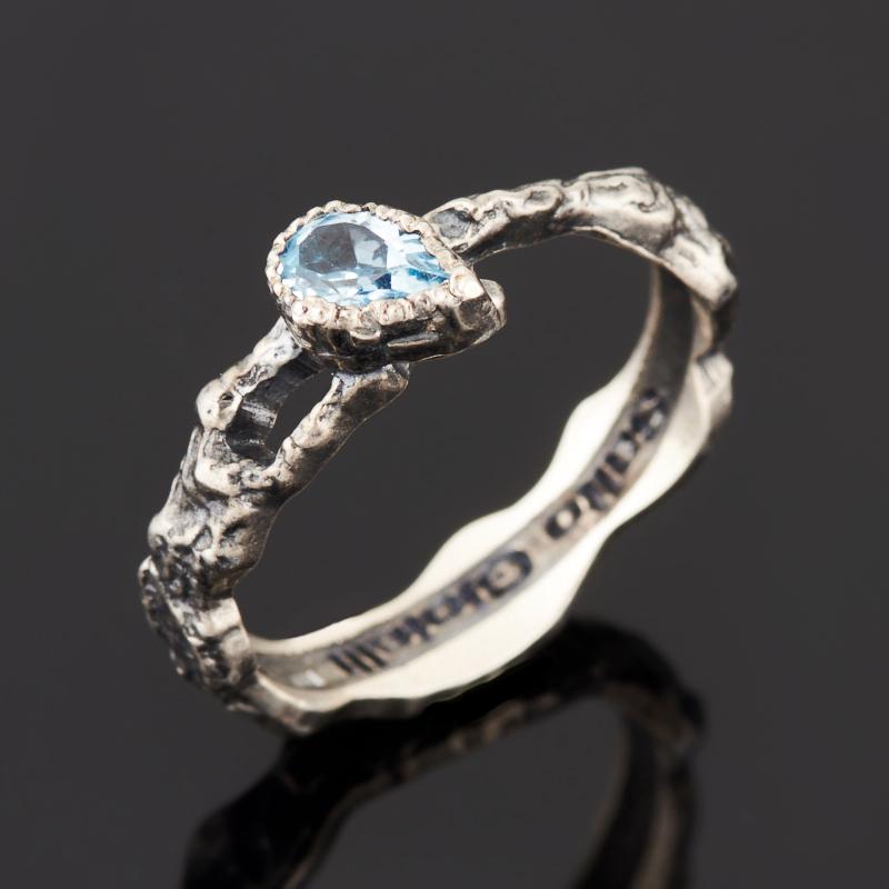 Кольцо топаз голубой (серебро 925 пр. черн.) огранка размер 18