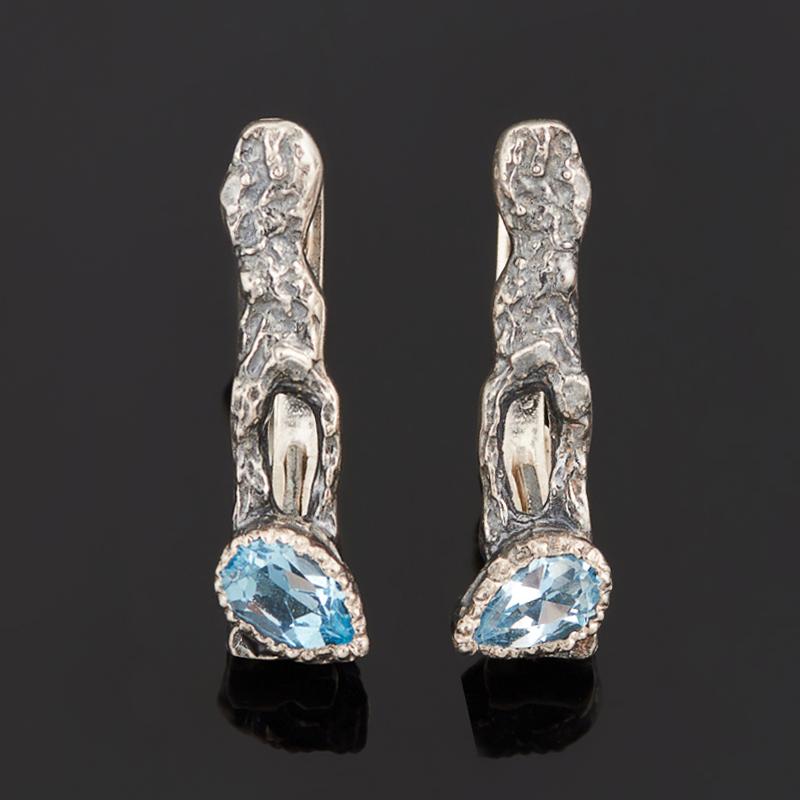 Серьги топаз голубой (серебро 925 пр. черн.) огранка