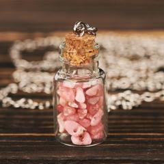 Кулон родохрозит Аргентина (биж. сплав) бутылочка 3 см