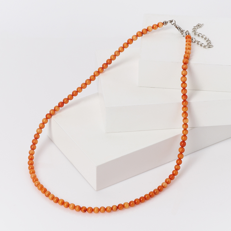 Бусы коралл оранжевый (биж. сплав) 5 мм 46 см (+7 см) лоток для полотенец primanova nora 24 15 5 4 5 см оранжевый
