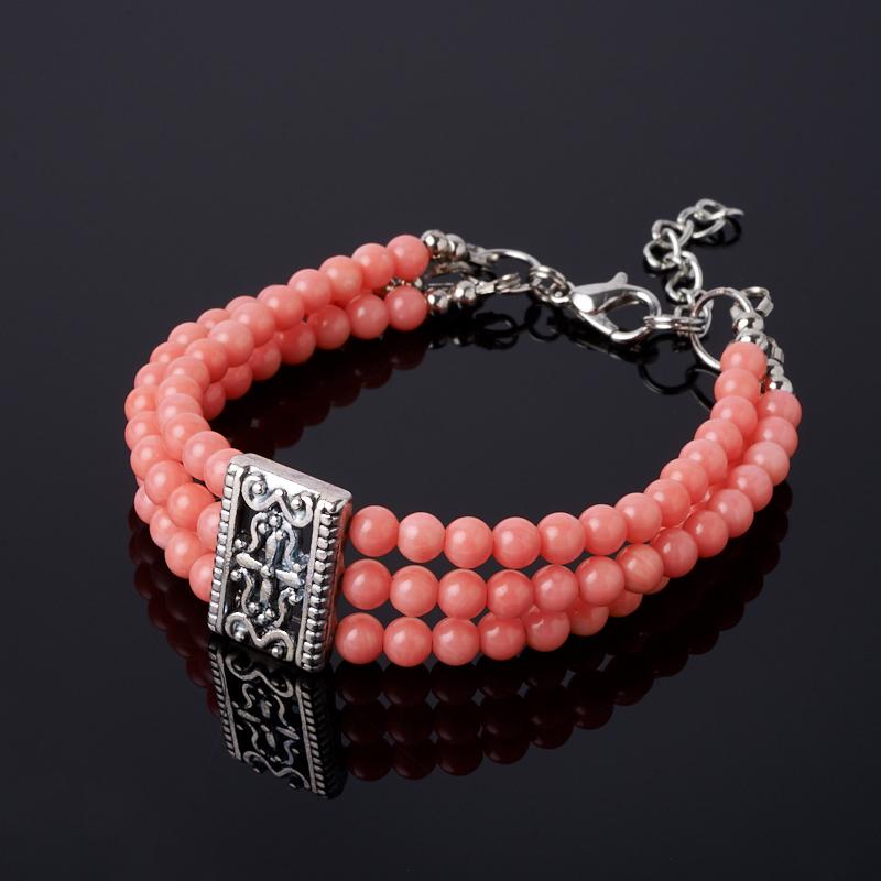Браслет коралл розовый (биж. сплав) 4 мм 17 см (+3 см) хотэй жадеит 4 см