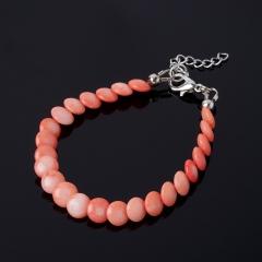 Браслет коралл розовый Индонезия (биж. сплав) 7 мм 16 см (+3 см)