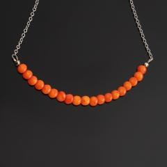 Бусы коралл оранжевый Индонезия (биж. сплав) (колье) 6 мм 46 см (+7 см)