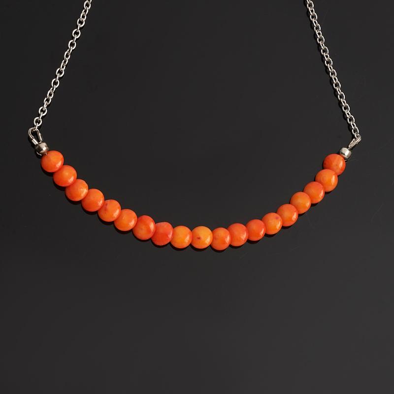 Бусы коралл оранжевый (биж. сплав) (колье) 6 мм 46 см (+7 см) бусы коралл красный 45 см 7 см биж сплав