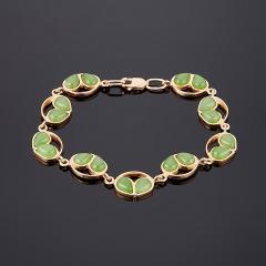 Браслет нефрит зеленый Россия (серебро 925 пр. позолота) 17 см