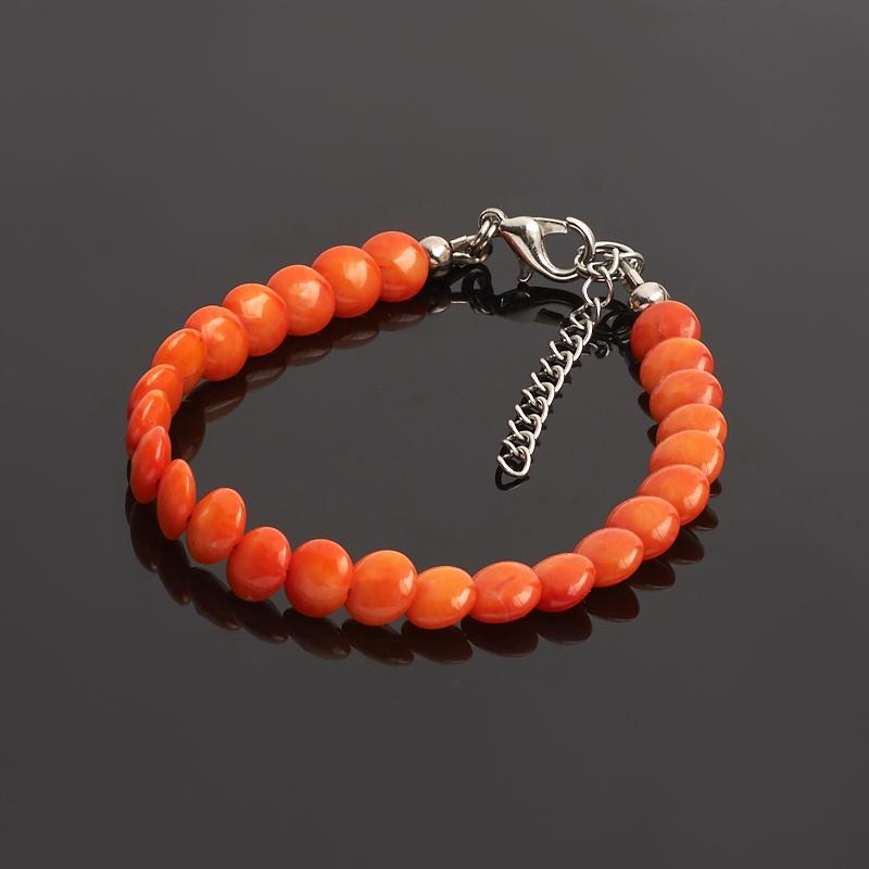 Браслет коралл оранжевый (биж. сплав) 6 мм 16-19 см цена