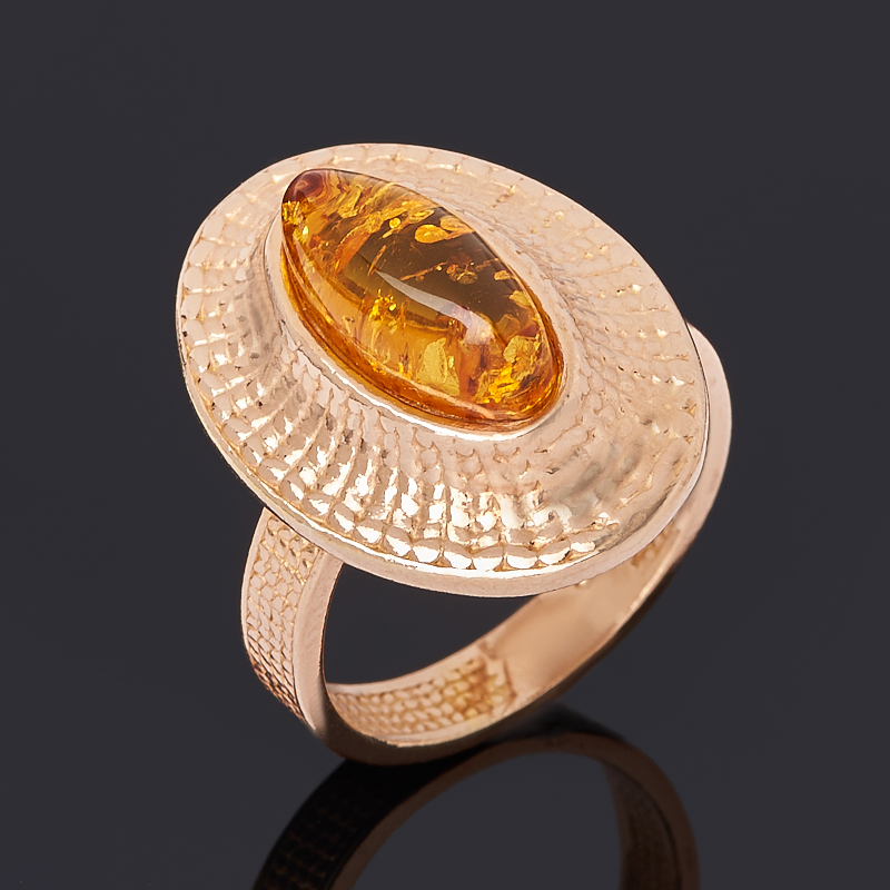 Кольцо янтарь (серебро 925 пр. позолота) размер 17,5
