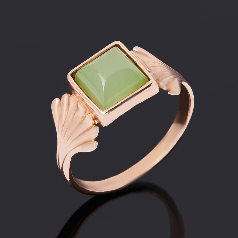 Кольцо нефрит зеленый (серебро 925 пр. позолота) размер 18