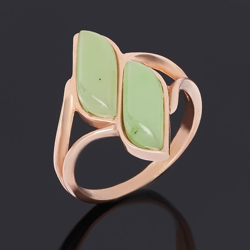 Кольцо нефрит зеленый (серебро 925 пр. позолота) размер 17