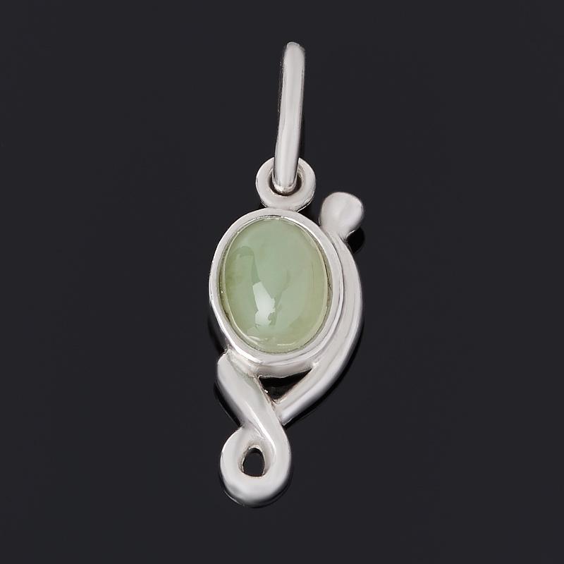 Кулон нефрит зеленый (серебро 925 пр. родир. бел.)