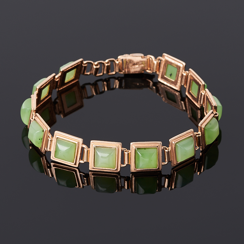 Браслет нефрит зеленый (серебро 925 пр. позолота) 19 см