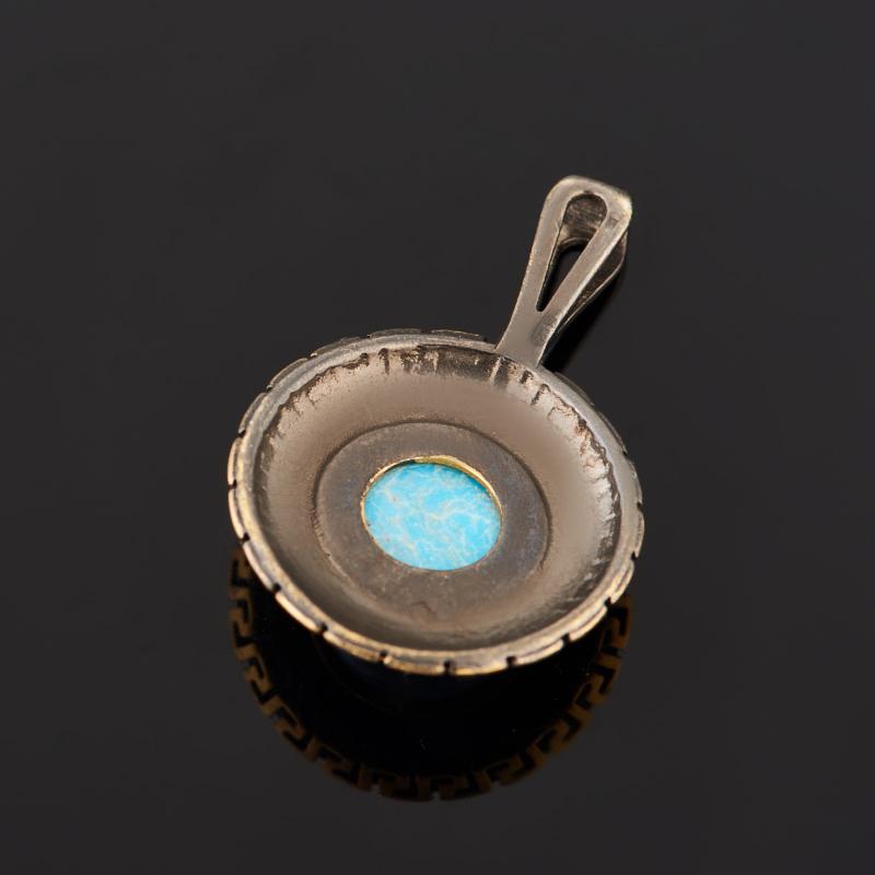 Кулон бирюза Тибет (серебро 925 пр. позолота, родир. черн.) круг